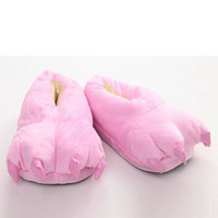 Pink Slippers With Paw Shape and Suede Design