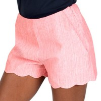 Finally Found You Coral Scalloped Shorts   Monday Dress Boutique