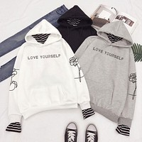 """""""Love Yourself"""" Faux Two Layered Hoodie"""