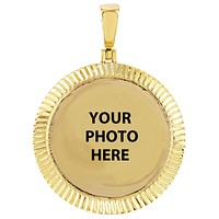 10K Gold Fluted Bezel Picture Memory Photo Pendant Chain