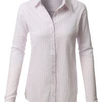 LE3NO Womens Lightweight Button Down Loose Striped T Shirt (CLEARANCE)