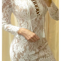 Endlessly Enchanting Ivory Lace Dress