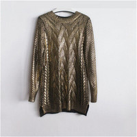 New Fashion Female Bling Pullovers Knitted Long Sleeve O-neck Winter Autumn Sequin Sweaters Hot  72054 SM6