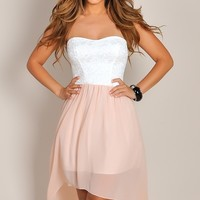Grace White and Pink Strapless Flowy High Low Dress