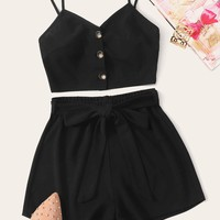 Button Front Cami Top and Tie Front Shorts Set