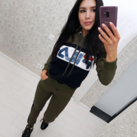 Army Green FILA Sports Pants Two Pieces