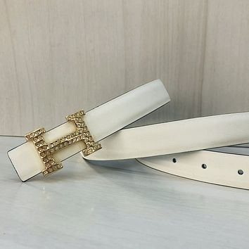 Hermes Woman Men Fashion Smooth Buckle Leather Belt