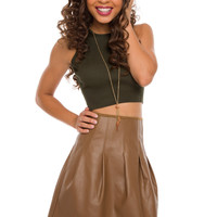 Calypso Pleather Skirt - Camel