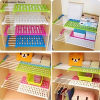 hot Wardrobe partition storage rack cabinets holder organizers nail free telescopic spacer frame Clothes rack kitchen shelf