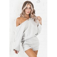 Just Hanging Out Gray Two Piece Set