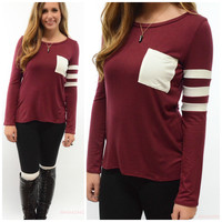 SZ LARGE Varsity Blues Striped Burgundy Pocket Top