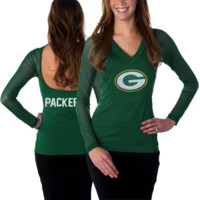 All Sport Couture Green Bay Packers NFL Women's Fashion Long Sleeve V-Neck Halter Top - Green