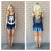 Navy Anchor Fringe Top