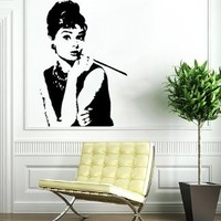 Beautiful Girl Face Wall Vinyl Decals Sticker Home Interior Decor for Any Room Housewares Mural Design Graphic Beauty Hair Spa Salon Wall Decal (5618)