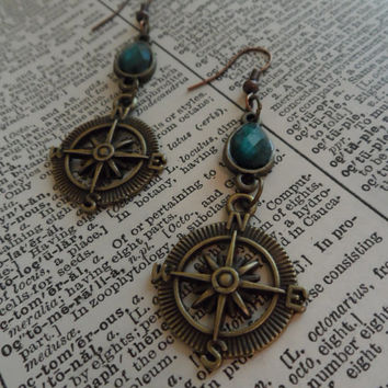 Compass Earrings, Steampunk, Green, Beads, Hanging, Shabby Chic, Golden S31