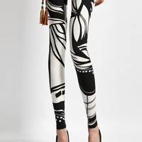 White Abstract Pattern Print Leggings