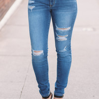 Kan Can City Lights Distressed Skinny Jeans