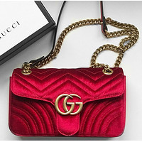 "Onewel ""GUCCI"" Popular Women Metal Double G Logo Velvet Leather Metal Chain Handbag Shoulder Bag Crossbody Satchel Red"