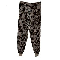 FENDI Women Fashion Print Pants Trousers