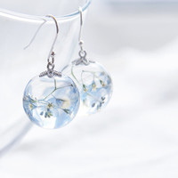 Forget-me-not earrings - Pale Blue Flowers in clear resin sphere - soft pastel light blue