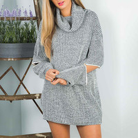 Heathered Zip Sleeve Turtleneck Cable Knit Sweater