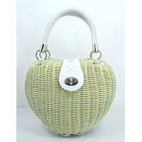 Vintage 50's Ivory Heart Shaped Wicker basket Handbag