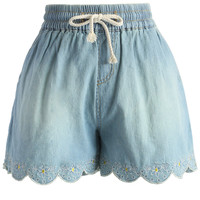 Scrolled Hem Denim Shorts in Light Blue Blue