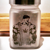 Stoner Super Man Etched Glass Stash Jar- Free UPGRADE to Priority Mail within the US