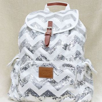 Victoria's Secret PINK Backpack Bling Chevron Sequin Silver Bag SOLD OUT NEW
