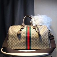 Kuyou Gb59918 Gucci Soft Travel Bag In Gg Leather