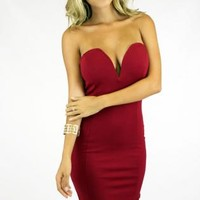 DEEP V BODYCON - RED