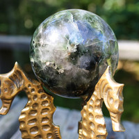Beautiful Crystal Quartz and Onyx Mineral Sphere 2.5 Inch Diameter