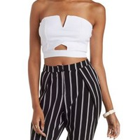 White Strapless Cut-Out Crop Top by Charlotte Russe