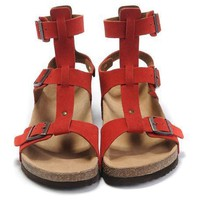 Birkenstock Leather Cork Flats Shoes Women Men Casual Sandals Shoes Soft Footbed Slippers-16