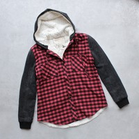 SH buffalo plaid flannel jacket with contrasting sleeves