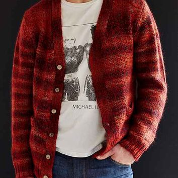 Oxford Lads Mohair Stripe Cardigan- Red