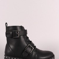 Qupid Studded Midsole Double Straps Combat Boots