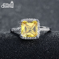 Effie Queen Luxury Princess Cut Yellow CZ Ring with Micro Paved Clear Zircon Platinum Plated Women Engagment Rings DR57