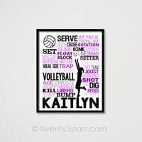 Volleyball Typography Wall Art - Choose Any Colors - twenty3stars
