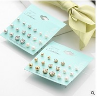 Explosive cross - border Korean version of earrings pearl earrings set diamond earrings earrings pearl suits