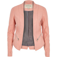 River Island Womens Pink leather-look fitted jacket