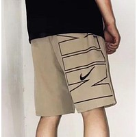 NIKE New fashion embroidery hook and letter print shorts Khaki