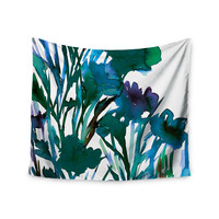 """Ebi Emporium """"Petal For Your Thoughts Teal"""" Turquoise Green Wall Tapestry"""