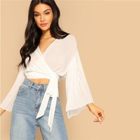 White Crop Wrap Belted Pleated Bell Sleeve Plain Slim Fit Blouse Women V Neck Flounce Sleeve Top Blouses