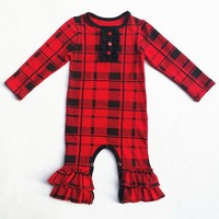 Red Black Plaid Romper