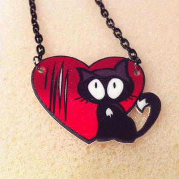 Love Hurts Cat Scratch Necklace in Black and Red
