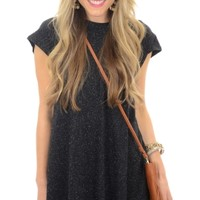 Speckled Tshirt Dress, Black
