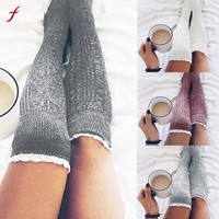 Women Cotton Thigh High Long Stockings Knit Over Knee Socks