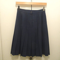 Navy Wool Pleated Skirt