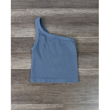 Solid One Shoulder Ribbed Crop Top in Bluestone